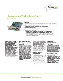 Eaton Modbus Card brochure - Power On Australia - Power